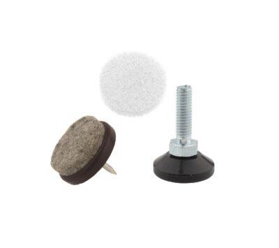 Sliders, self-adhesive felts, level adjusters